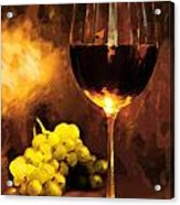 Glass Of Wine And Green Grapes By Candlelight Acrylic Print by Elaine Plesser