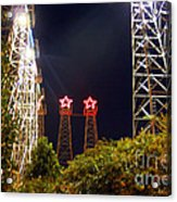 Glimpse Of The Derricks In Kilgore Acrylic Print