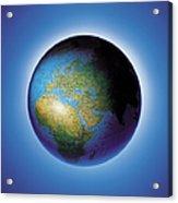 Globe On Blue Background Acrylic Print