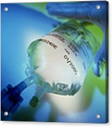 Gloved Hand Reaches For An Intravenous Drip Bag Acrylic Print
