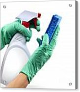 Gloved Hands With Sponge And Cleaning Spray Acrylic Print