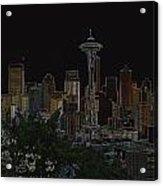 Glowing Seattle Skyline Acrylic Print