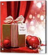 Gold Christmas Gift Box And Ornaments With Sparkle Lights  Acrylic Print
