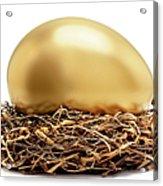 Gold Egg In Nest Acrylic Print