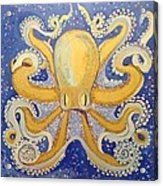 Gold Octopus In Blue Acrylic Print