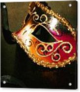 Gold Scroll Masquerade Mask Acrylic Print