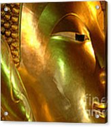 Golden Face Of Buddha Acrylic Print