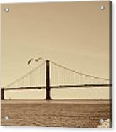 Golden Gate Bridge-sepia Acrylic Print