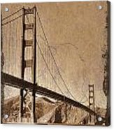Golden Gate Bridge Sepia Acrylic Print
