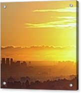 Golden Horizon At Sunset, Los Angeles Acrylic Print by Eric Lo