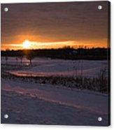 Golden Orange Winter Sunset Over The Golf Acrylic Print