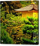 Golden Pavilion Temple In Kyoto Glowing In The Garden Acrylic Print