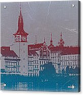 Golden Prague Acrylic Print by Naxart Studio