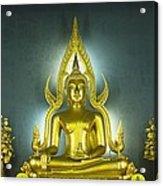 Golden Sitting Buddha Acrylic Print