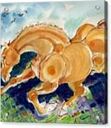 Golden Stride Acrylic Print