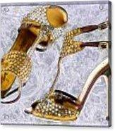 Golden Studded Stilettos Acrylic Print