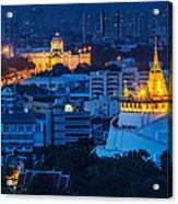 Golden Temple Bangkok Night Acrylic Print by Arthit Somsakul