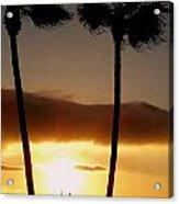 Golden Twin Palms Sunset Acrylic Print