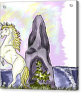 Golden Unicorn By The Sea Acrylic Print