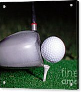 Golf Club Hitting Ball Acrylic Print