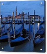 Gondolas At Dusk In Venice Acrylic Print