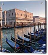 Gondolas Docked Outside Of Piazza San Acrylic Print