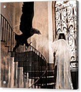Gothic Surreal Grim Reaper With Large Eagle Acrylic Print