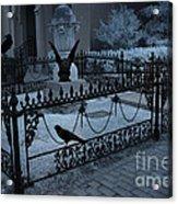 Gothic Surreal Night Gargoyle And Ravens - Moonlit Cemetery With Gargoyles Ravens Acrylic Print