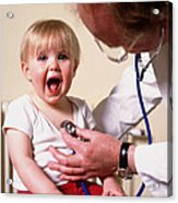 Gp Doctor Examines Child's Chest With Stethoscope Acrylic Print