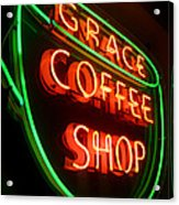 Grace Coffee Shop Neon Acrylic Print