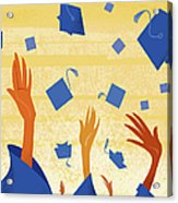 Graduates Throwing Graduation Hats Acrylic Print