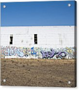 Graffiti On Abandoned Equipment Shed Acrylic Print by Paul Edmondson