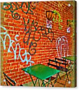Grafitti Dining Acrylic Print by Joan  Minchak