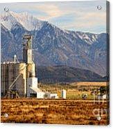 Grain Silo Below Wasatch Range - Utah Acrylic Print
