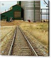 Grain Silos And Railway Track Acrylic Print