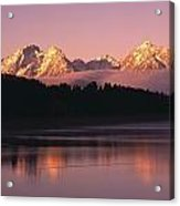 Grand Teton Mountains With Silhouetted Acrylic Print