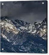 Grand Tetons Immersed In Clouds Acrylic Print