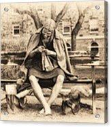 Granny Sitting On A Bench Knitting Ursinus College Acrylic Print