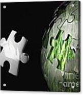 Grass Jigsaw Globe Acrylic Print