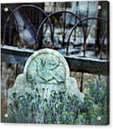 Gravestone With Dove Carved  Acrylic Print