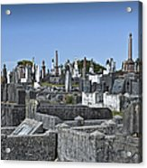 Gravestones In Graveyard Acrylic Print by Dave & Les Jacobs