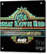 Great Movie Ride Neon Sign Hollywood Studios Walt Disney World Prints Glowing Edges Acrylic Print