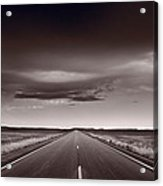 Great Plains Road Trip Bw Acrylic Print