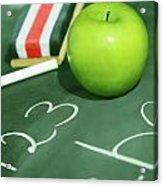 Green Apple For School Acrylic Print by Sandra Cunningham
