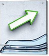 Green Arrow And Escalator Acrylic Print