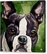 Green Black And White Acrylic Print