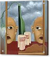 Green Bottle Agony Surrealistic Artwork With Crying Heads Cut Cups Flowing Red Wine Or Blood Frame   Acrylic Print by Rachel Hershkovitz
