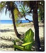 Green Chair On The Beach Acrylic Print