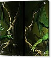 Green Dragon - Gently Cross Your Eyes And Focus On The Middle Image Acrylic Print