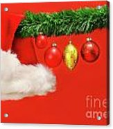 Green Garland With Santa Hat And Ornaments Acrylic Print